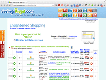 Click here to view a sample shopping list.