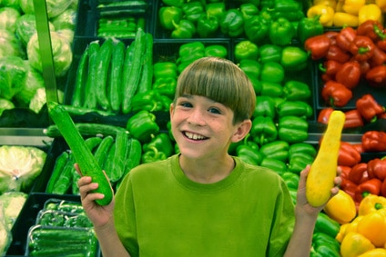 Healthy grocery savings with kids children in the supermarket