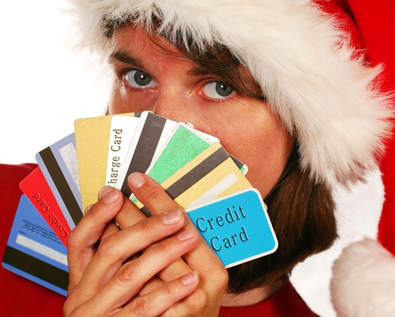 Christmas credit card user