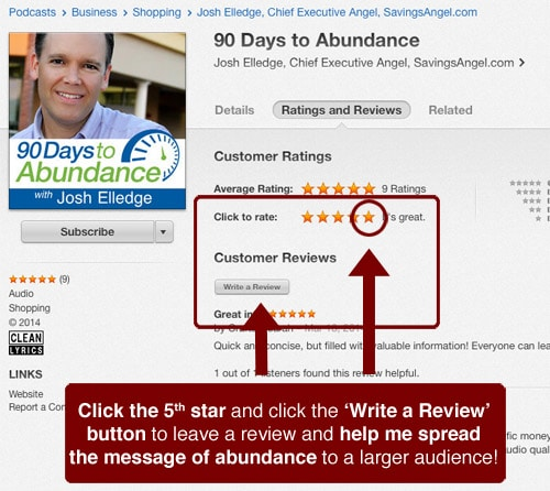 subscribe itunes podcast review coupons couponing