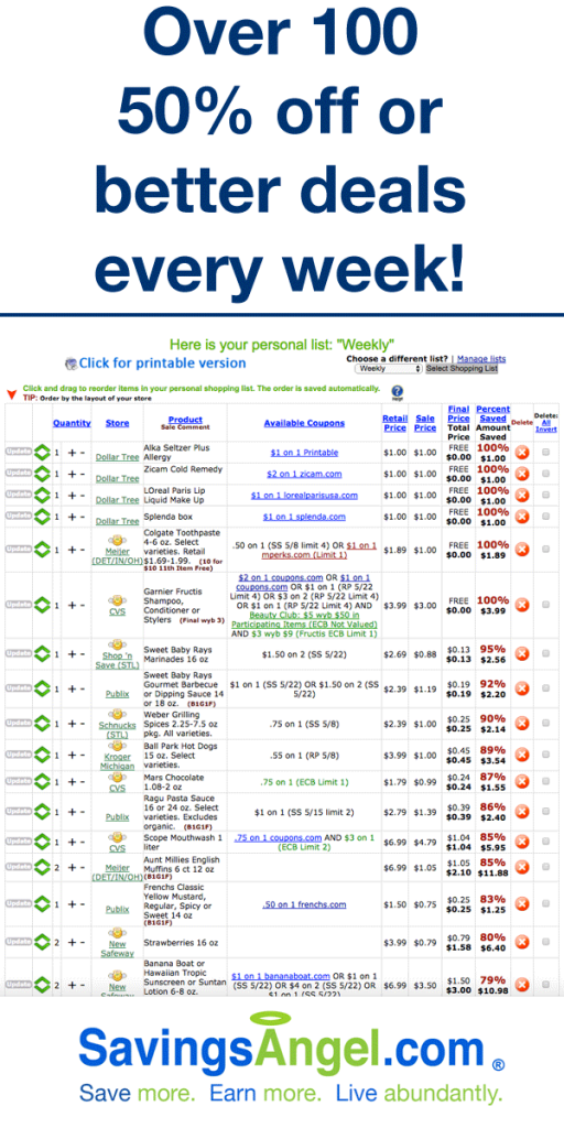 SavingsAngel offers lots of free couponing deals help and VIP-level savings where you can get personal coupon help.