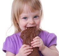toddler eating a chocolate bunny