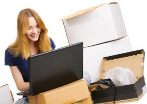 Young woman surfing an online store