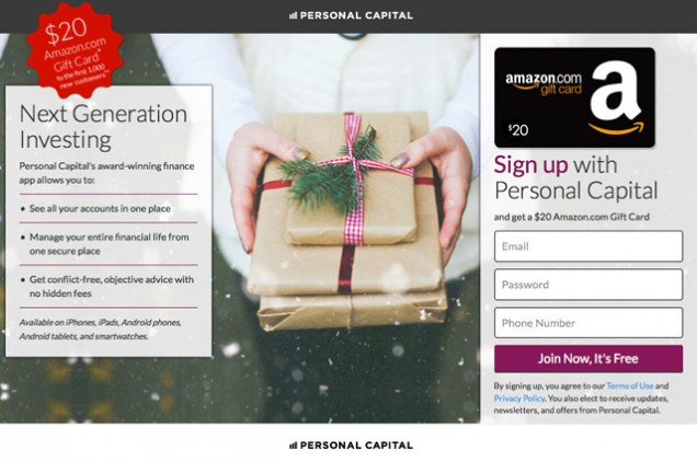 Personal Capital Sweepstakes Get $20 for free account.