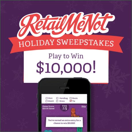 RetailMeNot giveaway sweepstakes win