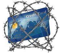 credit card wrapped in barbed wire 3d illustration
