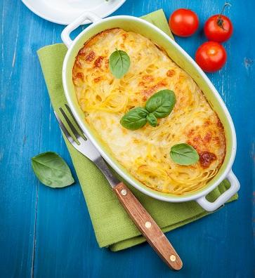 Casserole with pasta and mozzarella cheese
