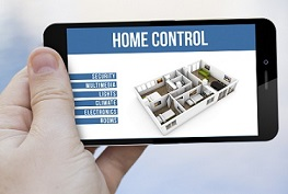 technology and connectivity concept: hand holding a 3d generated smartphone with home remote control app app on the screen