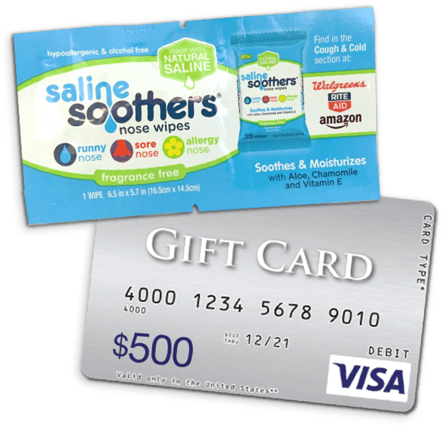FREE Saline Soothers Nose Wipes and a chance to WIN a $500