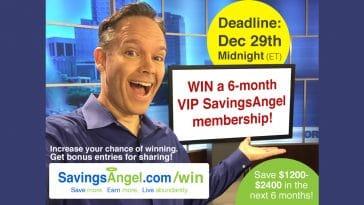 savingsangel contest win six months cut grocery bill in half.